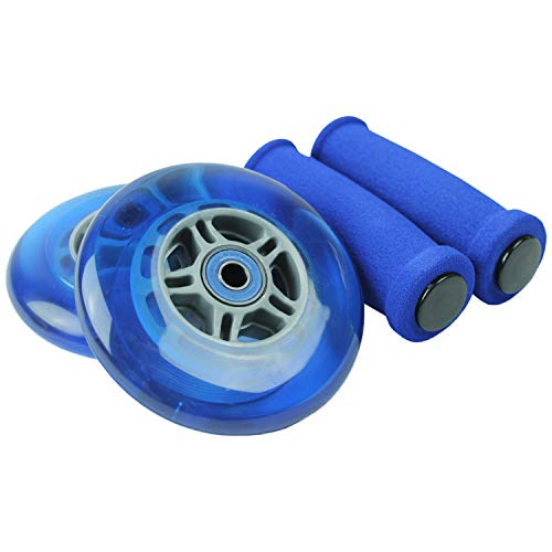 TGM Skateboards Replacement Razor Scooter Wheels, ABEC 7 Bearings, Handle Bar Grips (Blue/Blue)