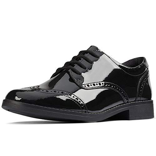 Clarks Aubrie Craft Y Girls Senior School Shoes 38 Negro Patente