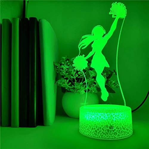 Creative 3D crack base lampe de table pom-pom girl acrylique LED veilleuse décoration chambre salon décoration de noël cadeau