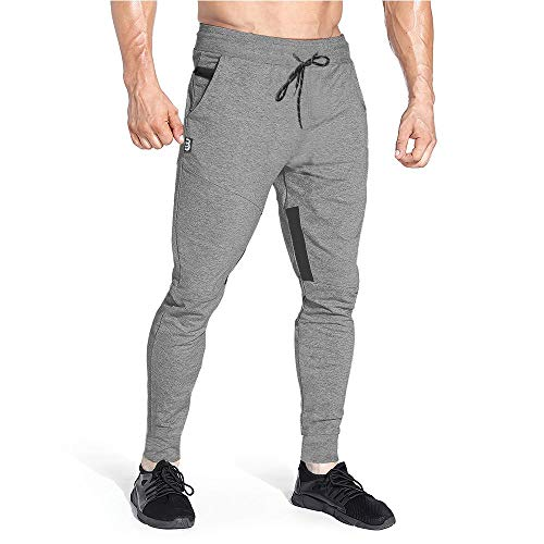 Yageshark Herren Jogginghose Sporthose Baumwolle Fitness Slim Fit Hose Freizeithose Trainingshose Joggers Streetwear (Grau, Large)
