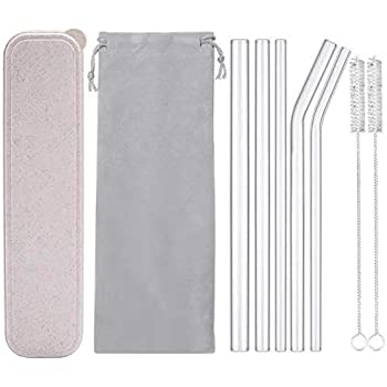 "Reusable Glass Drinking Straws, Healthy Boba Smoothie Straws, ECO Friendly - BPA Free, 9"" x 0.55"" / 0.4"" / 0.32"", 5 Pack with Cleaning Brush (Mixed Size)"