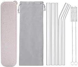"Reusable Glass Drinking Straws, Healthy Boba Smoothie Straws, ECO Friendly - BPA Free, 9"" x 0.55"" / 0.4"" / 0.32"", 5 Pack w..."