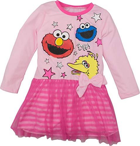 Sesame Street Toddler Girls' Tulle Dress Big Bird, Cookie Monster and Elmo (3T Pink)