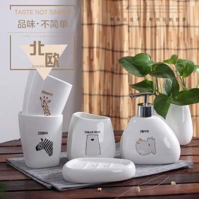 ZHQHYQHHX - Set di accessori da bagno in ceramica, set di accessori per il bagno, set da cinque o sei pezzi, set di accessori da bagno (colore: bianco3, dimensioni: libero)