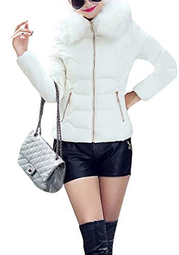 TYQQU Damen Winter Übergangsjacke Steppjacke Faux Fur Warm Casual Jacke WEIß L