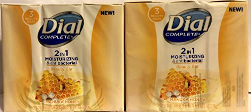 Dial Complete Beauty Bar Soap - 2 in 1 Moisturizing & Antibacterial - Manuka Honey - 3 Count 3.2 OZ Beauty Bars Per Package - Pack of 2 Packages
