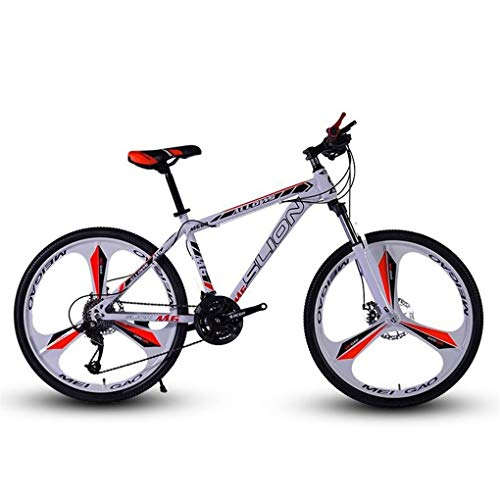 JLFSDB Mountain Bike,26 Inch Men/Women MTB Bicycles,Carbon Steel Frame,Dual Disc Brake Front Suspension,Mag Wheel (Color : White+Red, Size : 21 Speed)