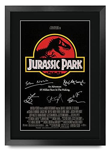 HWC Trading A3 FR Jurassic Park Poster From The Cast Film Signature Gift Ontworpen A3 Printed Handtekeningen Giften Op…