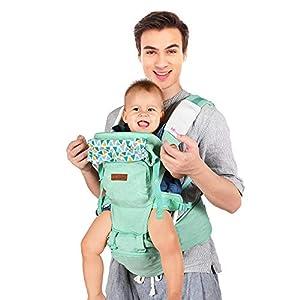 Lictin Mochila Portabebés - 10 en 1 Portabebe Ergonómico con Asiento Transpirable y Ajustable, con Protector para la Cabeza,2 Toallas de Saliva,1 Gorro,Adecuado para Bebés de 0-36 Meses(0-36KG)
