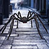 Libay Halloween Giant Spider 6.6 Ft, Outdoor Halloween Decorations Large Fake Hairy Spider Scary Furry Spider Props Outside Yard Creepy Decor, Black