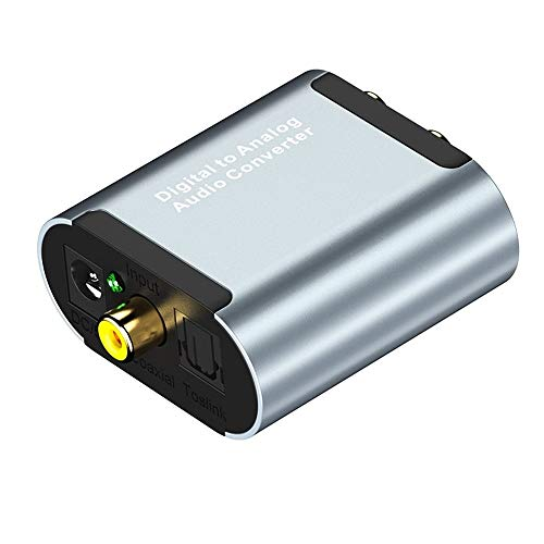 Convertidor de audio digital a analógico, DAC Digital coaxial y óptico (Toslink/SPDIF)...