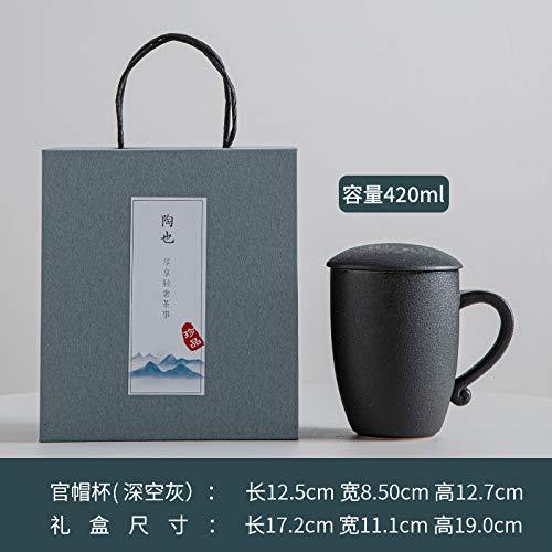 Heliansheng Taza Creativa con Tapa Taza de café de cerámica Simple Taza de Leche Taza de Oficina Taza de té-Espacio Profundo gris-301-400ml
