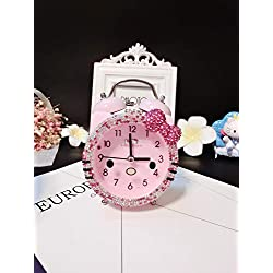 Keypower Direct Twin Bell Alarm Clock for Kids, Silent Non-Ticking Cartoon Quartz Loud Alarm Clock for Girls, Cute, Handheld Sized, Battery Operated (Pink)