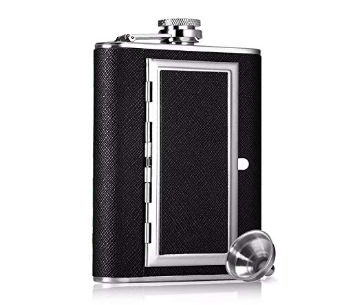 SNDIA Stainless Steel Pocket Hip Flask with Built in Cigarette Case(Black, Medium)