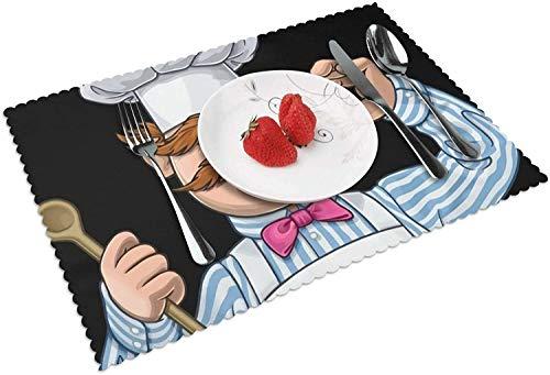 Juego de 4 manteles Individuales de Cuentas de Chef Muppets suecos para Mesa de Comedor, Lavables, Resistentes al Calor, de Tejido Cruzado, Antideslizantes, fáciles de Limpiar