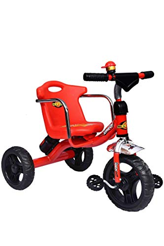 Shree Ganesh Online Baby Tricycle Bingo with Long Back Seat and Side Safety Rods and Rubber Alloy Wheels Water Bottle (Red)