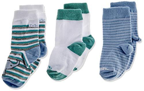 Kit 3 Pares Meia Casual, Mash, Bebê Unissex, Multicor (Azul/Branco/Verde), RN