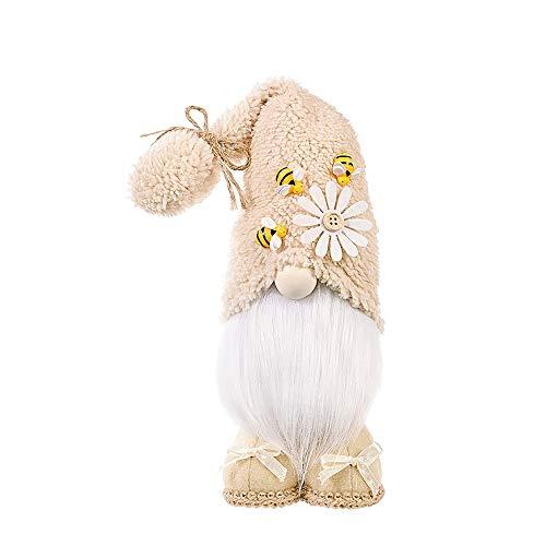 QASIMOF Bee Elf Gnome Spring Sunflower Doll Decoration, Handmade Bumble Plush Faceless Doll Bedroom Desktop Ornaments, Honey Bee Festival Farmhouse Home Decor, Housewarming Gift (B, 1 PC)