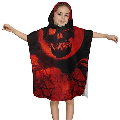 Florasun 3D Printed Black Skull Polyester Kids Hooded Bath Towel 32'' X 51'' Inch-White-OneSize