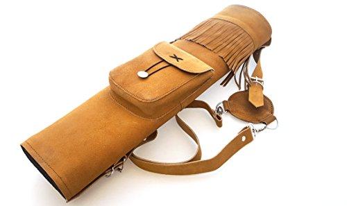 Aljaba de piel de ante tradicional para tiro con arco, Honey Brown