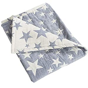 NTBAY 3 Layer Toddler Blanket, Muslin Cotton Jacquard Bed Blankets, Lightweight Thermal Baby Blanket, Super Soft and Warm Crib Blanket for All Seasons, Decoration Gift, 30″x 40″, Blue