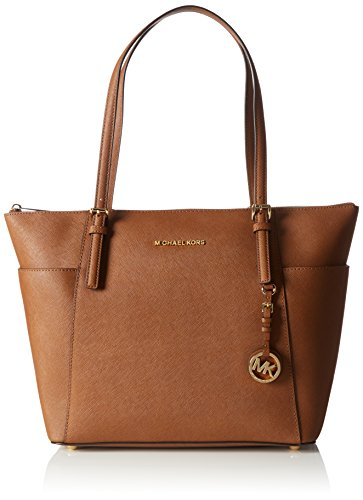 Michael Kors Women Jet Set Large Top-zip Saffiano Leather Tote Shoulder Bag, Brown (Luggage), 40x30x15 cm (W x H x L)