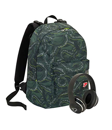 Zaino SEVEN THE DOUBLE - PYTHON - Verde - Cuffie wireless - 2 zaini in 1 REVERSIBILE