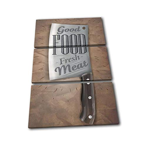 Frame Wall Art Poster Canvas Painting Modular Pictures For Living Room Bedroom Decor Picture Canvas Printed 3 Panel Creative Gift Meat Cleaver Knife Chef Food Kitchen (50X70Cmx3) Total Size 150X70Cm