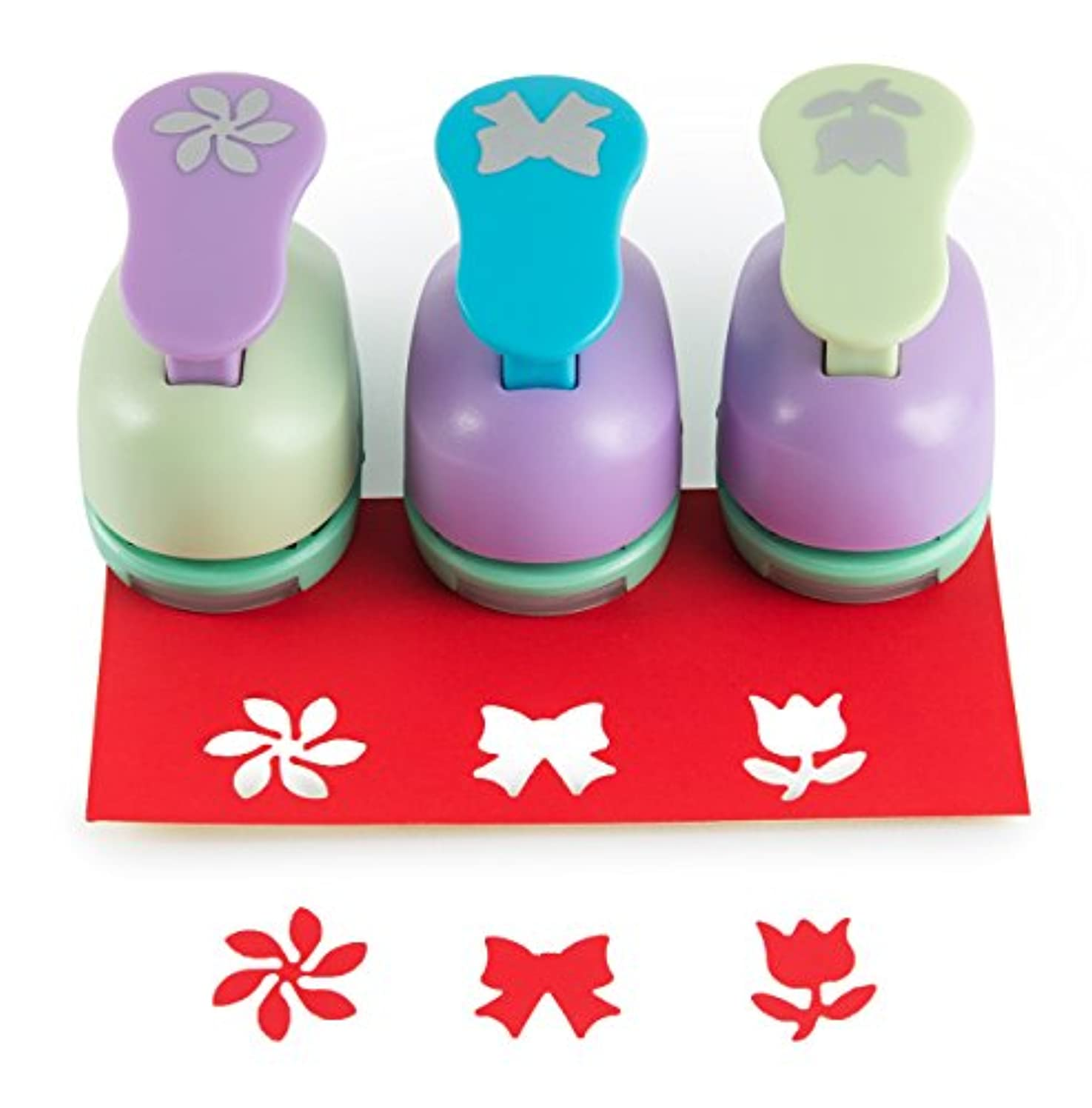 SICOHOME Scrapbooking Punches,Rose/Bowknot/Flower,Pack of 3,Paper Punches for Kids and Adualts