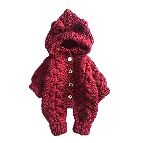 95sCloud Baby Mädchen Jungen Overall Winter Warm Babykleidung Kleidung Set Baby Unisex Langarm Stricken Strampler mit Kapuze Baby Toddler Neugeborenes Outfit Schneeanzüge Jumpsuit (Rot, 3-6 M)