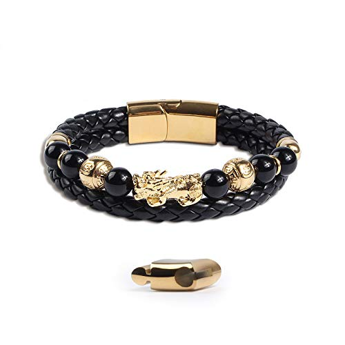Katomi Feng Shui obsidiana Pi Xiu - Pulsera de piel auténtica para hombre, cierre magnético de acero inoxidable en dorado, regalos para hombre