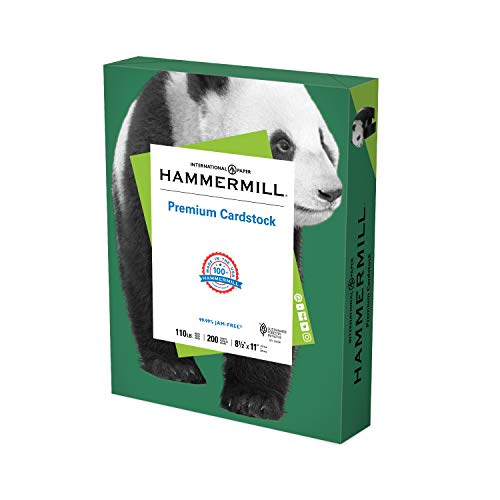 Hammermill Green Cardstock, 110 lb, 8.5 x 11 Colored Cardstock, 1 Pack (200 Sheets) - Thick Card Stock, Made in the USA, 168330R