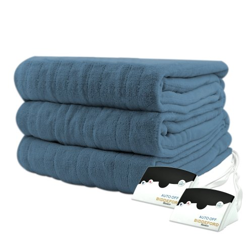 Biddeford 2023-905291-500 Electric Heated Knit MicroPlush Blanket, Queen, Denim