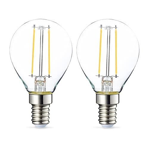Amazon Basics Lampadina LED E14 a Sfera, P45, 2W (equivalenti a 25W), Filamento- Pacco da 2