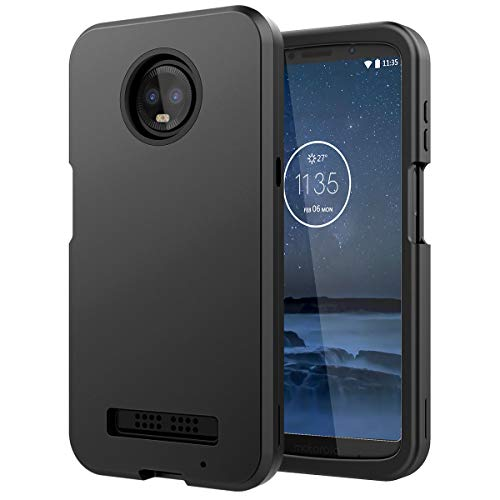 Motorola Moto Z3 Play Case, WeLoveCase Moto Z3 Case 3 in 1 Hybrid Heavy Duty Shockproof Armor Hard PC Cover TPU Bumper Three Layer Full Protective Phone Case for Motorola Moto Z3 Play Black