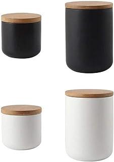 aipipl Accueil Pots à épices Pots de Rangement en céramique Couvercles en Bois Thé Café Sucre Bidons Cuisine Conteneur Noi...