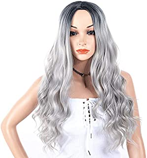 Peluca sintética de pelo largo y ondulado con dos tonos de color negro y gris con raíces resistentes al calor, parte media barata, 130% de alta densidad para mujer