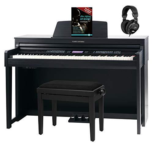 Classic Cantabile DP-A 610 E-Piano Set (88 Tasten Hammer-Mechanik, 1200 Voices und 38 DSP Effekte, Bluetooth-Streaming, Begleitfunktionen mit 270 Styles, inkl. Bank, Kopfhörer & Schule) Schwarz matt
