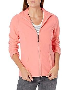Amazon Essentials Women s Classic Fit Long-Sleeve Full-Zip Polar Soft Fleece Jacket Bright Coral Large
