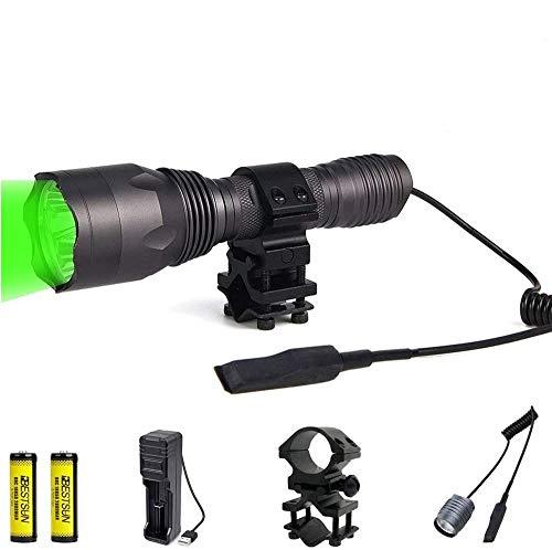 LUXJUMPER Linterna de luz verde, 350 yardas Luz de depredador verde Coyote Varmints Caza Linterna táctica led, 1000 lúmenes, linterna LED impermeable con interruptor de presión