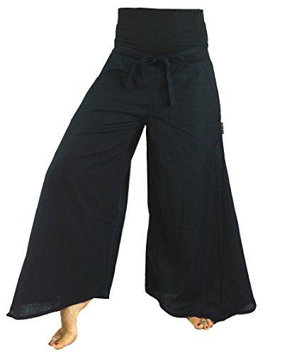GURU SHOP Goa Wellness, Hippie Hose, Schlaghose, Damen, Schwarz, Baumwolle, Size:S (36), Lange Hosen Alternative Bekleidung
