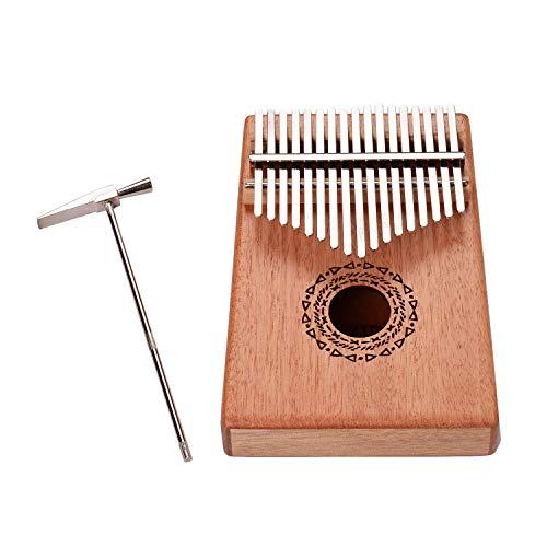 Kalimba, Daumenklavier 17 Keys Kalimba Daumenklavier Musikinstrument Palisander-Panel mit Tragetasche Schlüssel Aufkleber Tuner Hammer Reinigungstuch (Color : Wheat ears style)