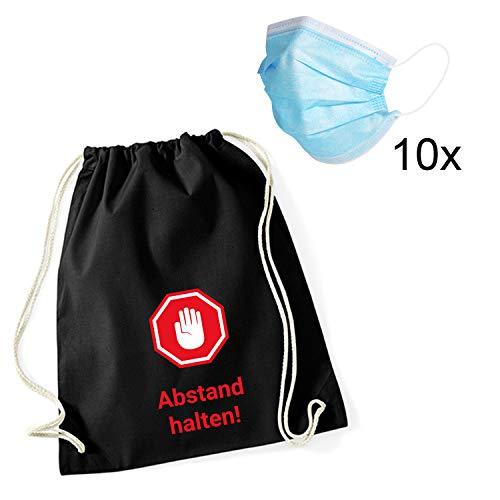 Shirt-Panda Mundschutz (Einweg) und Beutel Abstand halten · elastische Ohrschlaufen Atemschutzmaske Staubschutz dreilagig Halbmaske für Erwachsene und Kinder 10 Stück