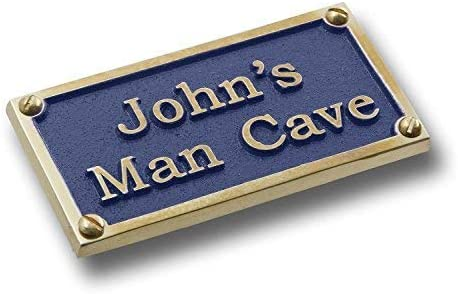 Personalized English Brass Mancave Plaque Popular standard Name. His Custom Outlet SALE With