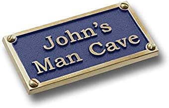 Personalized English Brass Mancave Plaque With His Name. Custom Bar Accessories Sign Gift Idea For A Husbands Man Cave For Birthday, Christmas, Anniversary Or Fathers Day Stocking Filler From Wife.