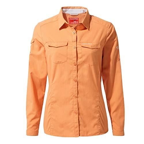 Craghoppers W NosiLife Adventure II Langarm Bluse Orange, Damen Daunen Hemd, Größe 36-10 - Farbe Soft Apricot