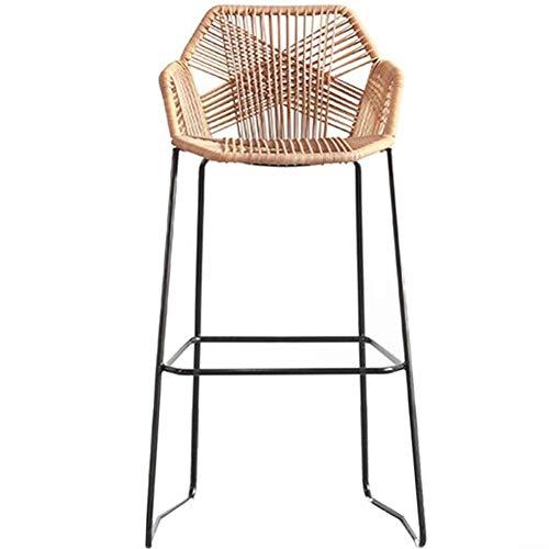 Elegante Wohnkultur Rattan Wicker barkruk stoel met voetensteun & rug, hoge barkruk met zwarte metalen basis, voor keuken Pub Café Ontbijtbark Modern design