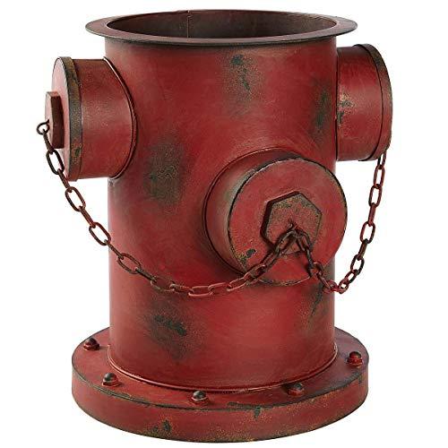 Pureday Blumentopf Übertopf Hydrant Shabby Chic Rostoptik Eisen ca. 35 x 32 x 36cm rot