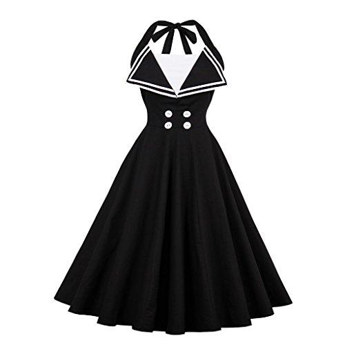 VERNASSA 50s Retro Vestidos del Coctel Retro de los años 1950 de Halterneck de Las Mujeres, Halter Polka Dots Audrey Dress Retro Cocktail Dress