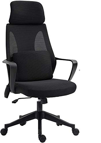 Ergonomic Office Chair, Home Office Chair Desk, Height Mid Back Gaming Chair, Support Flip Up Arms Swivel Rolling Adjustable Mid Back Computer Manager Chair for Women Men Adults,Black (Black)